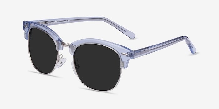 Strata Clear Blue Metal Sunglass Frames from EyeBuyDirect, Angle View
