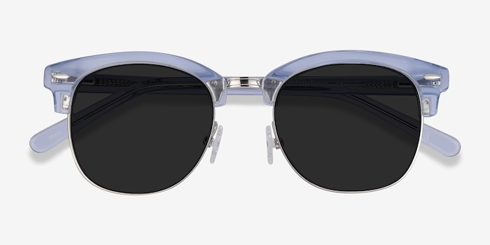 Strata Clear Blue Acetate Sunglass Frames from EyeBuyDirect, Closed View