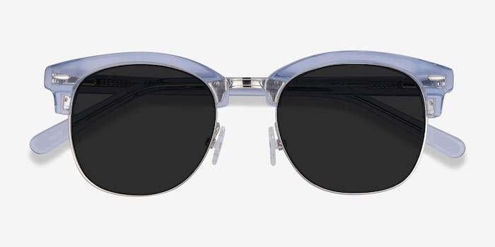 Strata Clear Blue Acetate-metal Soleil de Lunette de vue d'EyeBuyDirect, Vue Rapprochée