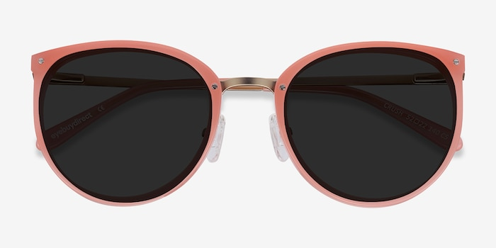 Crush Coral Metal Sunglass Frames from EyeBuyDirect, Closed View