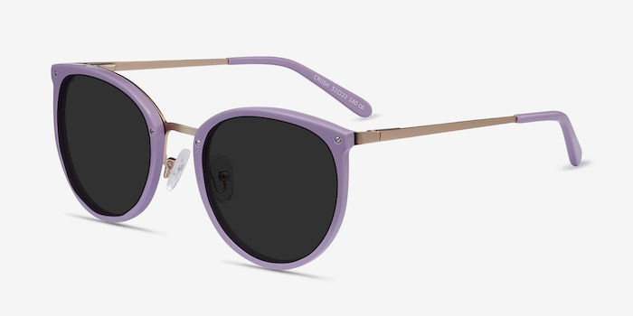 Crush Lavender Metal Sunglass Frames from EyeBuyDirect, Angle View