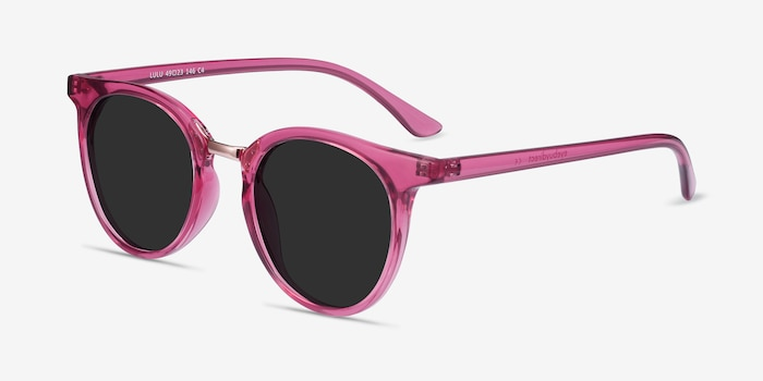 Lulu Raspberry Metal Sunglass Frames from EyeBuyDirect, Angle View