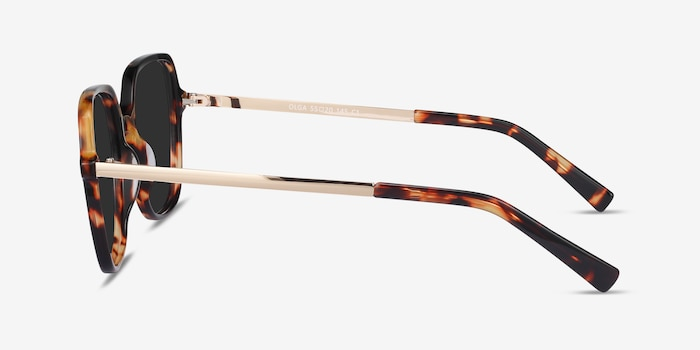 Olga Tortoise & Gold Acetate-metal Sunglass Frames from EyeBuyDirect, Side View