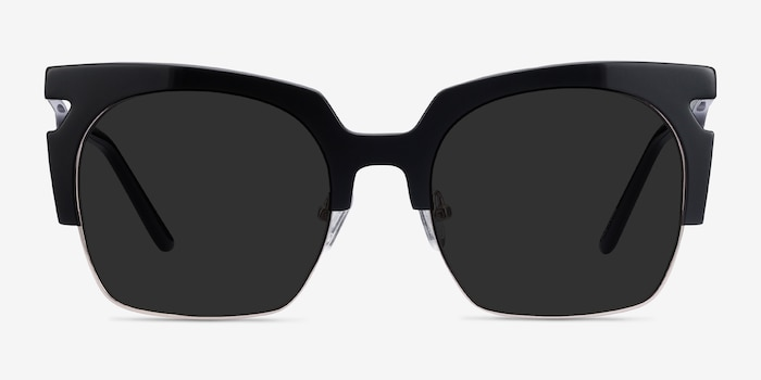 Ilsa Black Acetate-metal Sunglass Frames from EyeBuyDirect, Front View