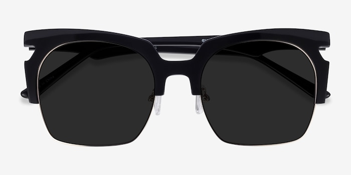 Ilsa Black Acetate-metal Sunglass Frames from EyeBuyDirect, Closed View