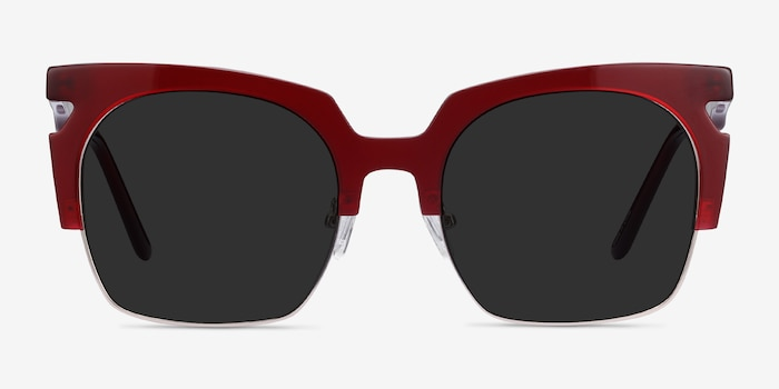 Ilsa Burgundy Acetate Sunglass Frames from EyeBuyDirect, Front View