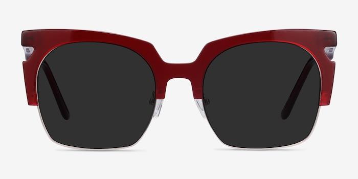 Ilsa Burgundy Acetate-metal Soleil de Lunette de vue d'EyeBuyDirect, Vue de Face