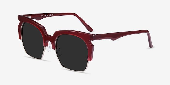Ilsa Burgundy Acetate Sunglass Frames from EyeBuyDirect, Angle View