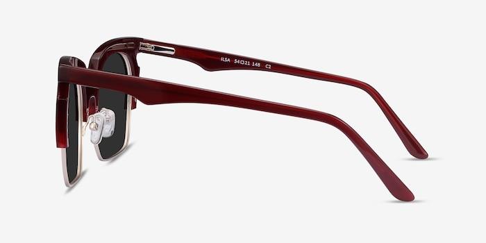 Ilsa Burgundy Acetate Sunglass Frames from EyeBuyDirect, Side View