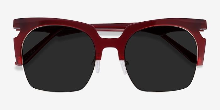 Ilsa Burgundy Acetate Sunglass Frames from EyeBuyDirect, Closed View