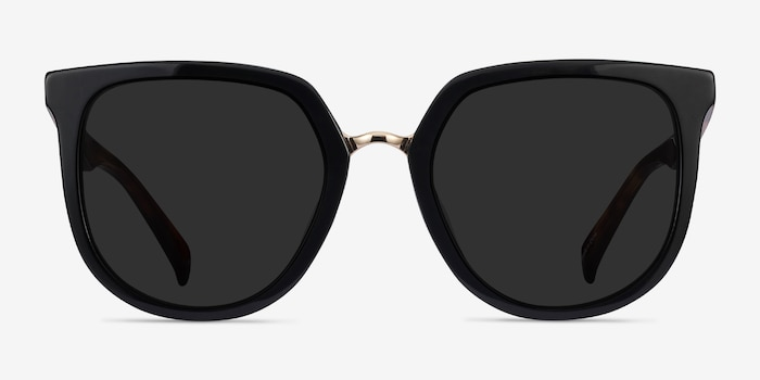Shannon Black & Tortoise Acetate Sunglass Frames from EyeBuyDirect, Front View