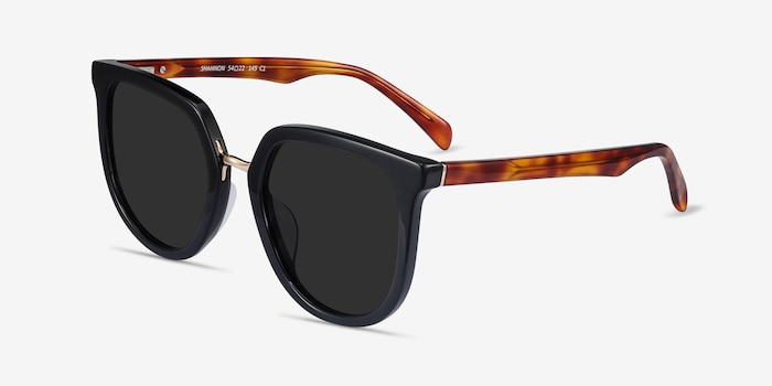 Shannon Black & Tortoise Acetate Sunglass Frames from EyeBuyDirect, Angle View