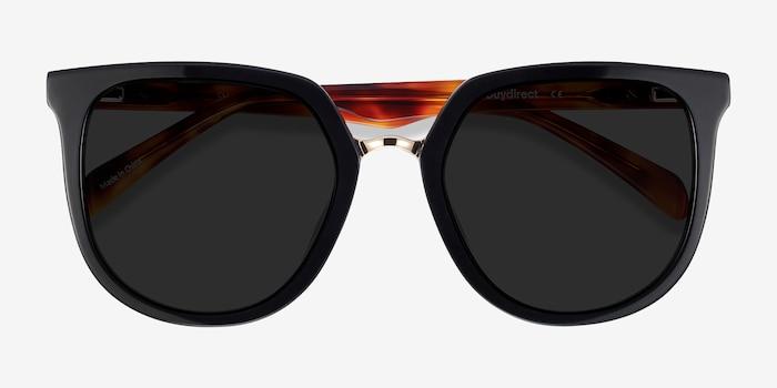 Shannon Black & Tortoise Acétate Soleil de Lunette de vue d'EyeBuyDirect, Vue Rapprochée