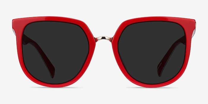 Shannon Red & Leopard Acetate Sunglass Frames from EyeBuyDirect, Front View