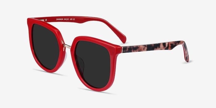 Shannon Red & Leopard Acétate Soleil de Lunette de vue d'EyeBuyDirect, Vue d'Angle