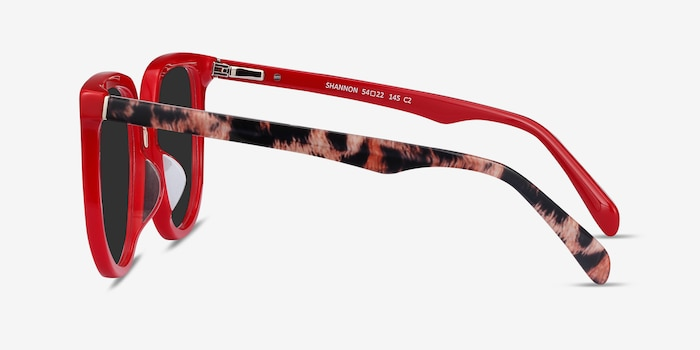 Shannon Red & Leopard Acetate Sunglass Frames from EyeBuyDirect, Side View