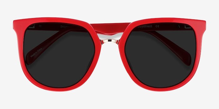 Shannon Red & Leopard Acetate Sunglass Frames from EyeBuyDirect, Closed View
