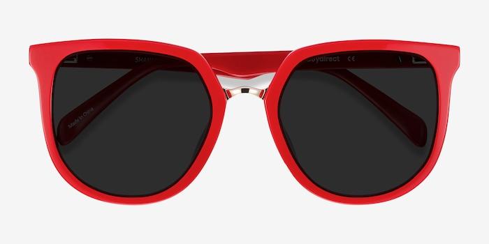 Shannon Red & Leopard Acétate Soleil de Lunette de vue d'EyeBuyDirect, Vue Rapprochée