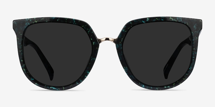 Shannon Green Floral Acetate Sunglass Frames from EyeBuyDirect, Front View