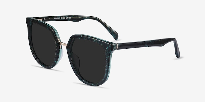 Shannon Green Floral Acetate Sunglass Frames from EyeBuyDirect, Angle View