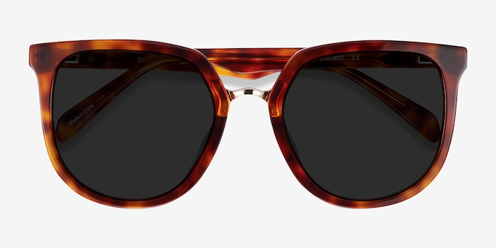 Shannon Tortoise Acetate Sunglass Frames from EyeBuyDirect, Closed View