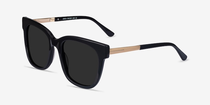 Erica Black Acetate-metal Sunglass Frames from EyeBuyDirect, Angle View