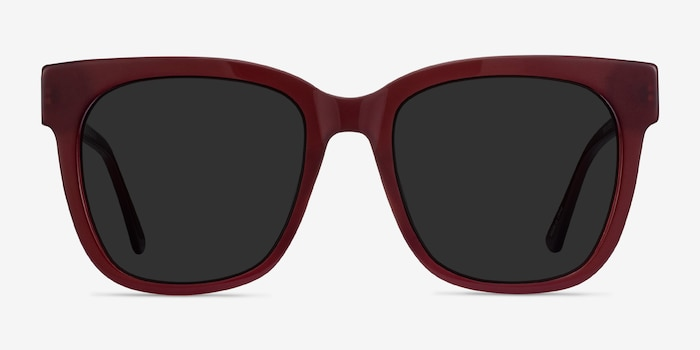 Erica Burgundy Acetate Sunglass Frames from EyeBuyDirect, Front View
