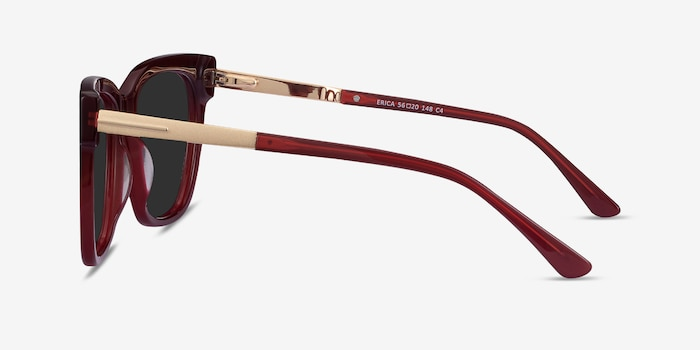 Erica Burgundy Acetate Sunglass Frames from EyeBuyDirect, Side View