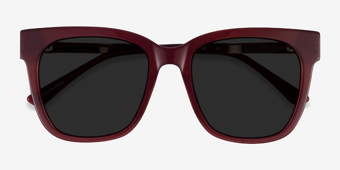Erica Burgundy Acetate Sunglass Frames from EyeBuyDirect, Closed View