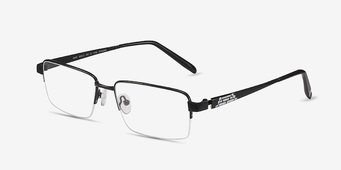 Aron Black Titanium Eyeglass Frames from EyeBuyDirect, Angle View