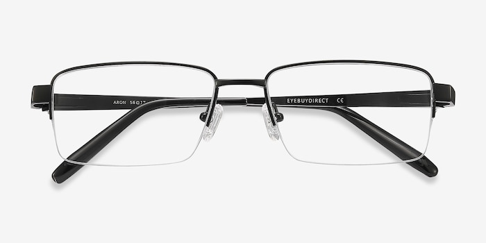 Aron Black Titanium Eyeglass Frames from EyeBuyDirect, Closed View