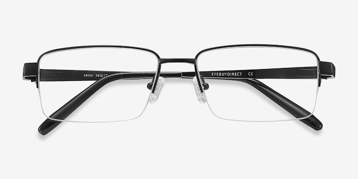 Aron Noir Titane Montures de Lunettes d'EyeBuyDirect, Vue Rapprochée