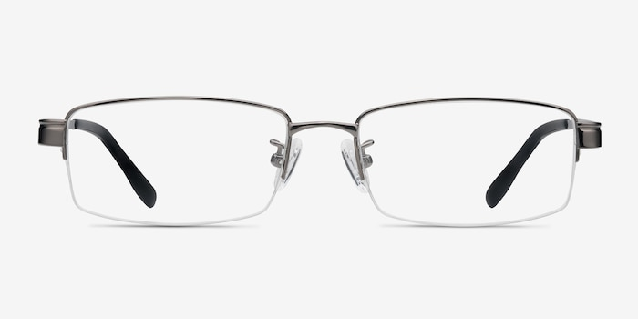 Emerge Gunmetal Titanium Eyeglass Frames from EyeBuyDirect, Front View