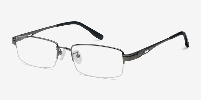 Emerge Gunmetal Titanium Eyeglass Frames from EyeBuyDirect, Angle View