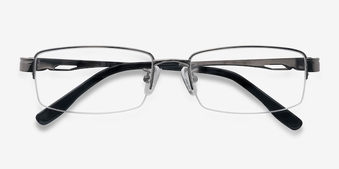 Emerge Gunmetal Titanium Eyeglass Frames from EyeBuyDirect, Closed View