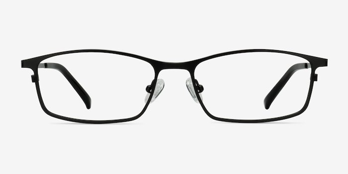 Present Black Titanium Eyeglass Frames from EyeBuyDirect, Front View