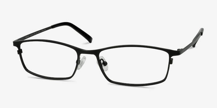 Present Black Titanium Eyeglass Frames from EyeBuyDirect, Angle View