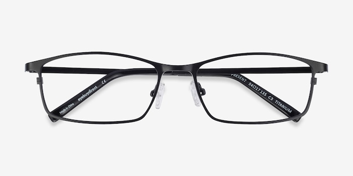 Present Black Titanium Eyeglass Frames from EyeBuyDirect, Closed View