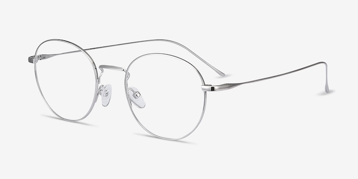 Aegis Silver Titanium Eyeglass Frames from EyeBuyDirect, Angle View