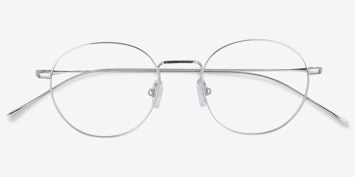 Aegis Silver Titanium Eyeglass Frames from EyeBuyDirect, Closed View