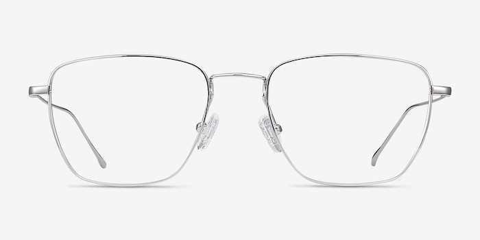 Future Silver Titanium Eyeglass Frames from EyeBuyDirect, Front View