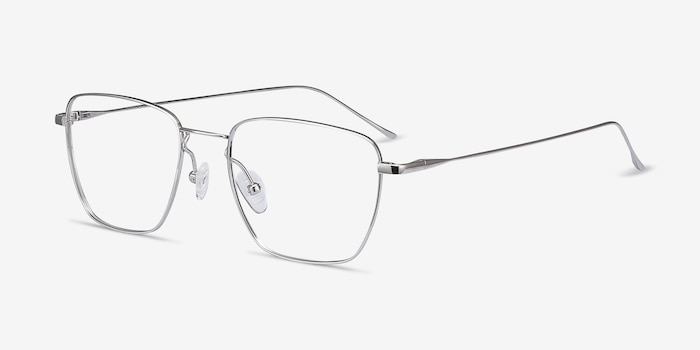 Future Silver Titanium Eyeglass Frames from EyeBuyDirect, Angle View