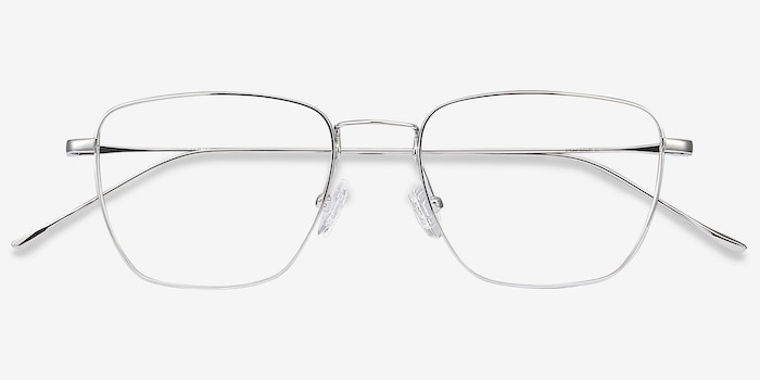 Future Silver Titanium Eyeglass Frames from EyeBuyDirect, Closed View