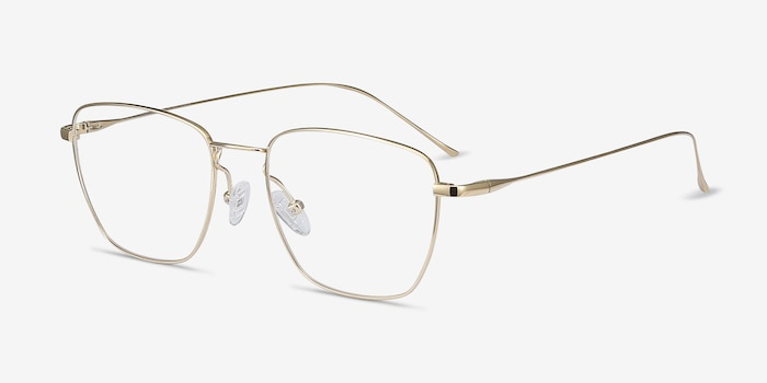 Future Golden Titanium Eyeglass Frames from EyeBuyDirect, Angle View