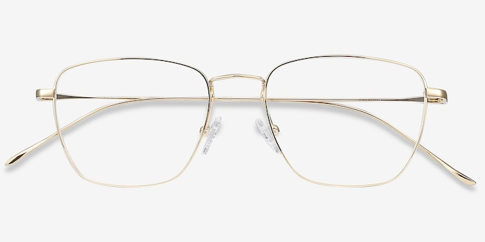 Future Golden Titanium Eyeglass Frames from EyeBuyDirect, Closed View