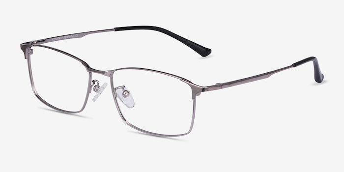 Constant Gunmetal Titanium Eyeglass Frames from EyeBuyDirect, Angle View