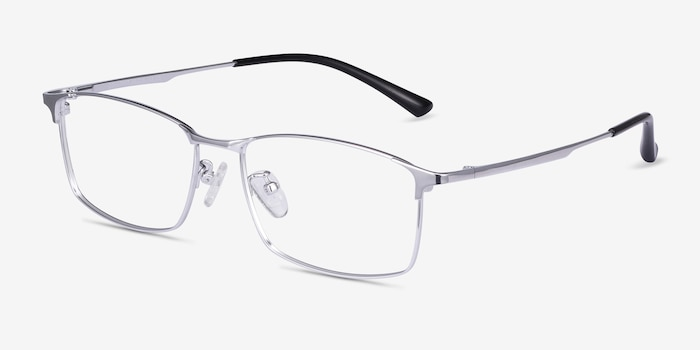Constant Silver Titanium Eyeglass Frames from EyeBuyDirect, Angle View