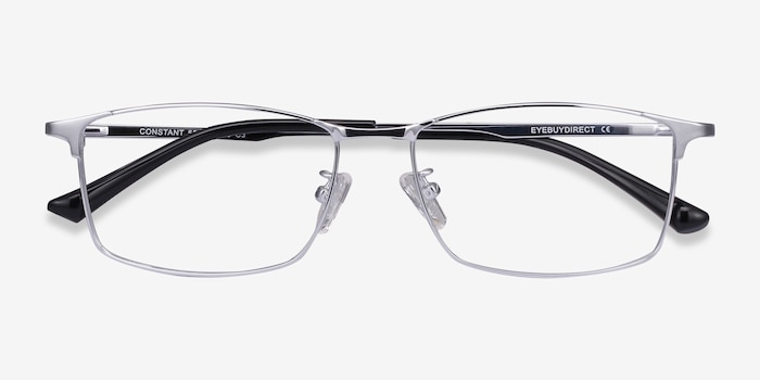 Constant Silver Titanium Eyeglass Frames from EyeBuyDirect, Closed View