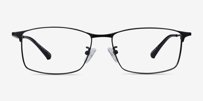 Constant Black Titanium Eyeglass Frames from EyeBuyDirect, Front View