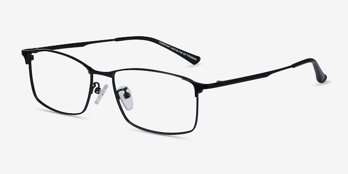 Constant Black Titanium Eyeglass Frames from EyeBuyDirect, Angle View